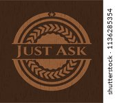 just ask wooden emblem. retro | Shutterstock .eps vector #1136285354