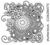 adult coloring page with... | Shutterstock . vector #1136286473