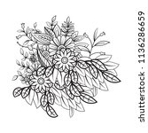 floral pattern in black and... | Shutterstock . vector #1136286659