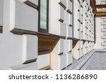 facade of building in modernist ...   Shutterstock . vector #1136286890