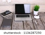 comfortable workplace with...   Shutterstock . vector #1136287250