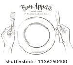 overhead hands holding a knife... | Shutterstock .eps vector #1136290400