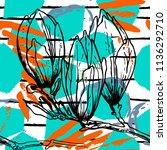 tropical  stripe  animal motif. ... | Shutterstock .eps vector #1136292710