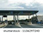 tollway gate in alicante | Shutterstock . vector #1136297240