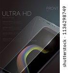 vector screen protector film or ... | Shutterstock .eps vector #1136298749