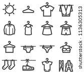 dry clothes icons | Shutterstock .eps vector #1136305313