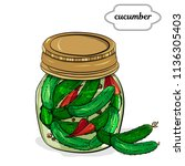 jar with canned cucumber ... | Shutterstock .eps vector #1136305403