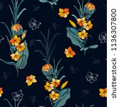 rendy floral pattern. isolated... | Shutterstock .eps vector #1136307800