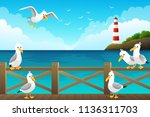 seascape with seagulls on the... | Shutterstock .eps vector #1136311703