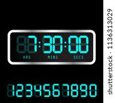 timer clock. digital time clock.... | Shutterstock .eps vector #1136313029