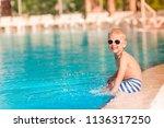 cute little boy in sunglasses...   Shutterstock . vector #1136317250