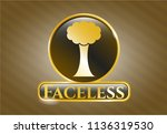 shiny emblem with tree icon... | Shutterstock .eps vector #1136319530