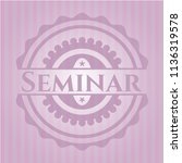 seminar badge with pink... | Shutterstock .eps vector #1136319578