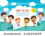 happy kids playing | Shutterstock .eps vector #1136319659