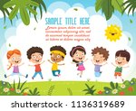 happy kids playing | Shutterstock .eps vector #1136319689