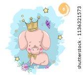 vector illustration of cute... | Shutterstock .eps vector #1136321573