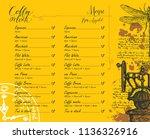 vector coffee shop menu with... | Shutterstock .eps vector #1136326916