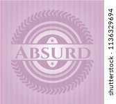 absurd badge with pink... | Shutterstock .eps vector #1136329694