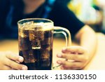 background of cola with ice and ... | Shutterstock . vector #1136330150
