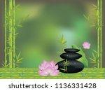 black pebbles pile  zen stones... | Shutterstock .eps vector #1136331428