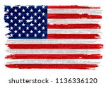 grunge american flag.watercolor ... | Shutterstock .eps vector #1136336120
