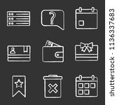 ui ux chalk icons set. list ...