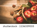 fresh red apples in the basket  | Shutterstock . vector #1136339033