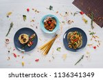 pasta with seafood  beef ... | Shutterstock . vector #1136341349