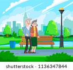 happy grandparents   senior... | Shutterstock .eps vector #1136347844