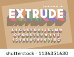 original retro 3d display font... | Shutterstock .eps vector #1136351630