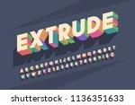 original retro 3d display font... | Shutterstock .eps vector #1136351633