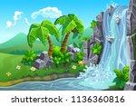vector landscape. waterfall in... | Shutterstock .eps vector #1136360816