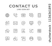 set line icons of contact us... | Shutterstock . vector #1136361893