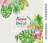 wedding invitation over... | Shutterstock . vector #1136363933