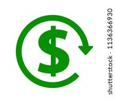 green dollar icon with arrow ... | Shutterstock .eps vector #1136366930