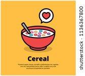 cereal bowl vector illustration  | Shutterstock .eps vector #1136367800
