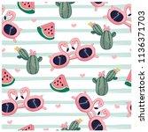 summer items seamless pattern.... | Shutterstock .eps vector #1136371703