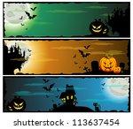a set of halloween teamed... | Shutterstock .eps vector #113637454