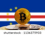 bitcoin btc on stack of... | Shutterstock . vector #1136375933