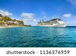 cruise ship docked at tropical... | Shutterstock . vector #1136376959