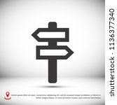 signpost icon vector   stock... | Shutterstock .eps vector #1136377340