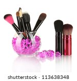 make up brushes in a bowl with... | Shutterstock . vector #113638348