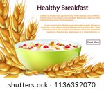 healthy breakfast banner or... | Shutterstock .eps vector #1136392070