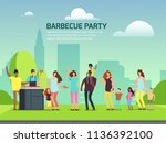 barbeque party banner design.... | Shutterstock .eps vector #1136392100