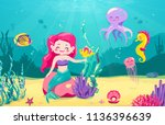cartoon mermaid background with ... | Shutterstock .eps vector #1136396639