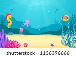 underwater cartoon background... | Shutterstock .eps vector #1136396666