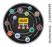quiz flat icons concept. vector ... | Shutterstock .eps vector #1136405699