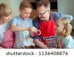 happy grandparents have fun... | Shutterstock . vector #1136408876