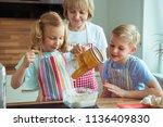 happy grandmother with her... | Shutterstock . vector #1136409830