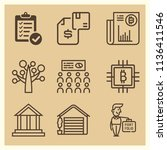 set of 9 business outline icons ...